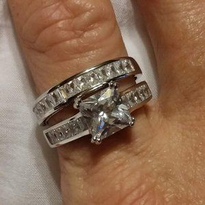 Engagement Sterling Silver Ring Set